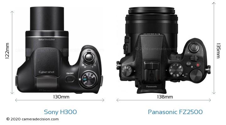 Sony H300 vs Panasonic FZ2500 Camera Size Comparison - Top View