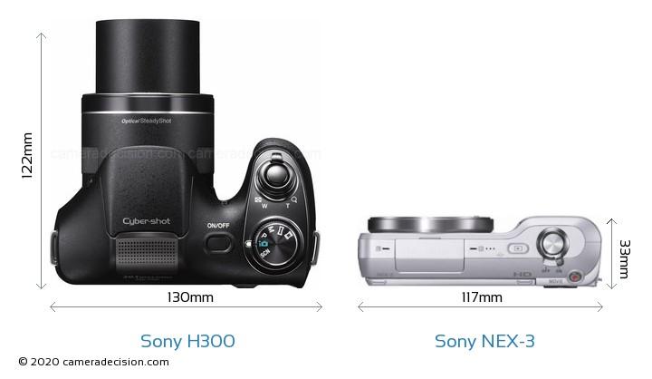 Sony H300 vs Sony NEX-3 Camera Size Comparison - Top View