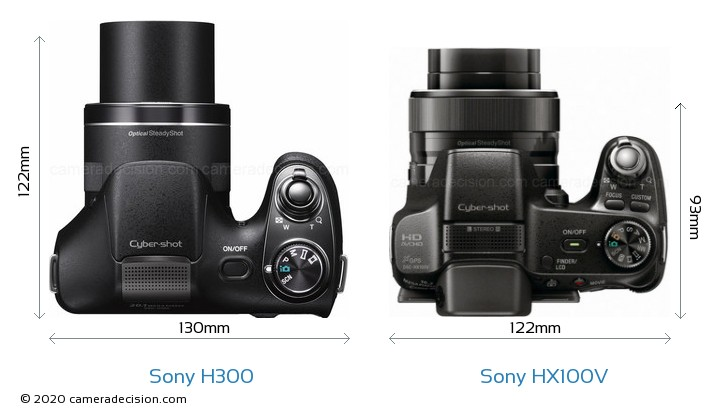 Sony H300 vs Sony HX100V Camera Size Comparison - Top View