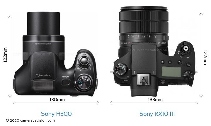 Sony H300 vs Sony RX10 III Camera Size Comparison - Top View