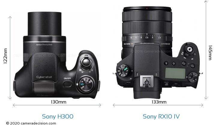 Sony H300 vs Sony RX10 IV Camera Size Comparison - Top View