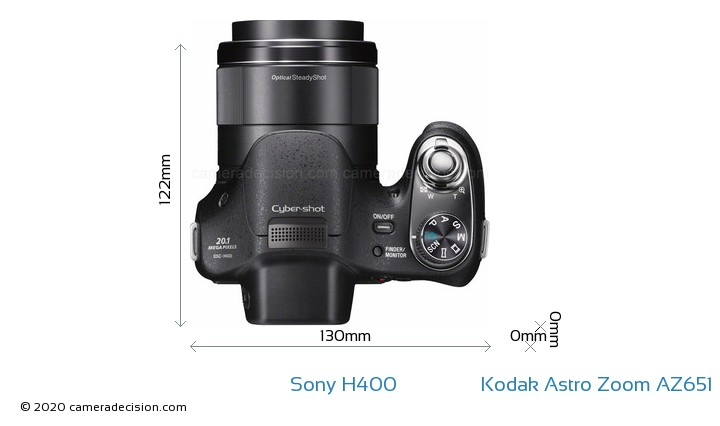 Sony H400 vs Kodak Astro Zoom AZ651 Camera Size Comparison - Top View