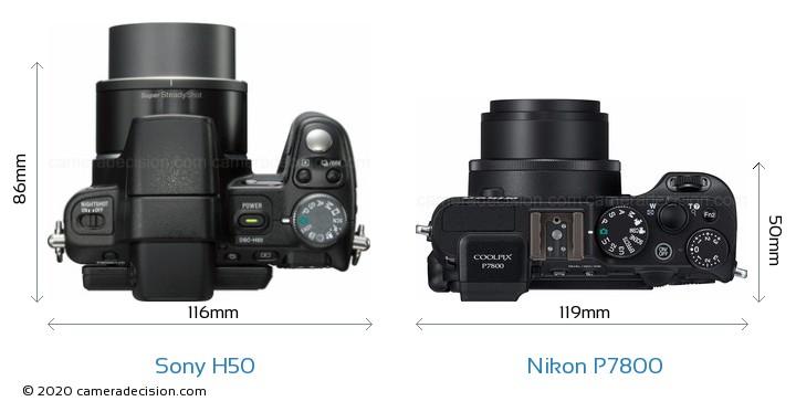 Sony H50 vs Nikon P7800 Camera Size Comparison - Top View