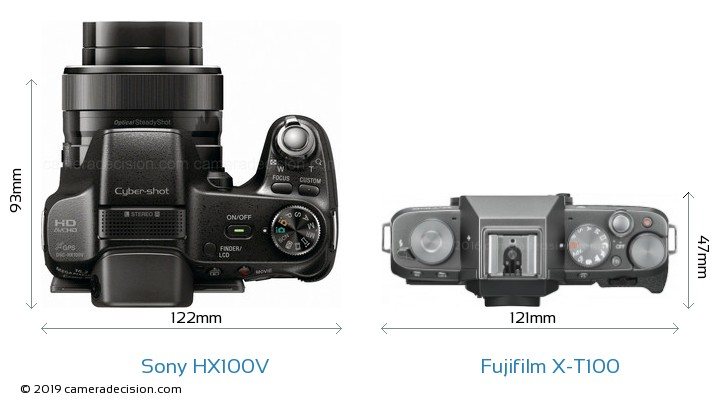 Sony HX100V vs Fujifilm X-T100 Camera Size Comparison - Top View