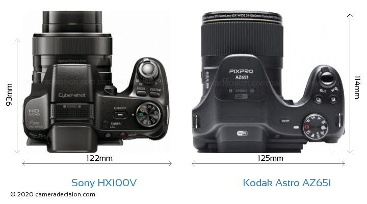 Sony HX100V vs Kodak Astro Zoom AZ651 Camera Size Comparison - Top View