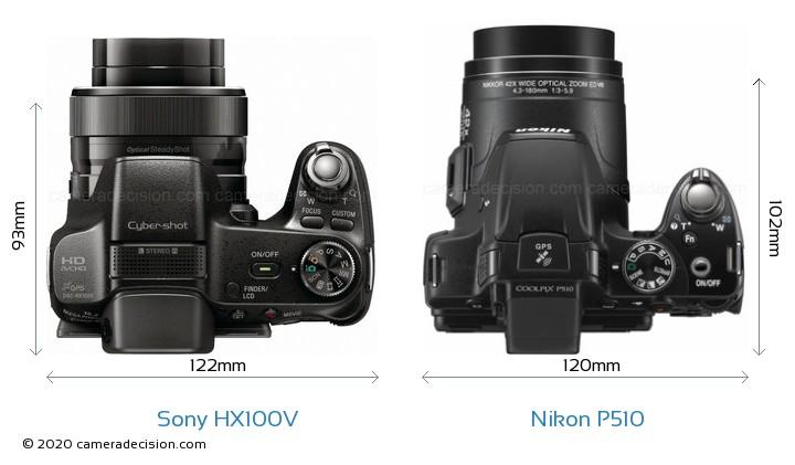 Sony HX100V vs Nikon P510 Camera Size Comparison - Top View