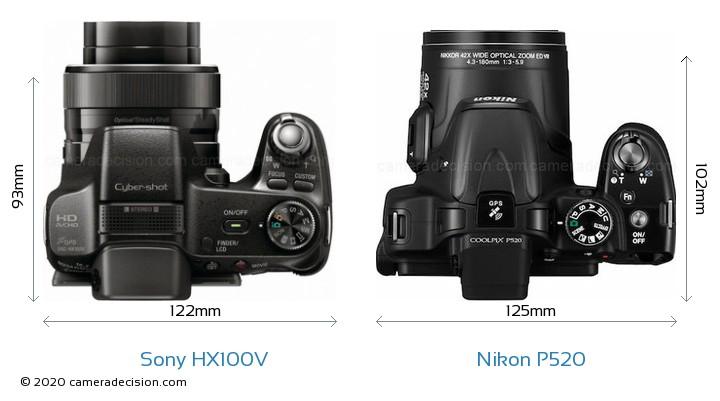 Sony HX100V vs Nikon P520 Camera Size Comparison - Top View
