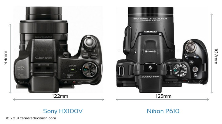 Sony HX100V vs Nikon P610 Camera Size Comparison - Top View