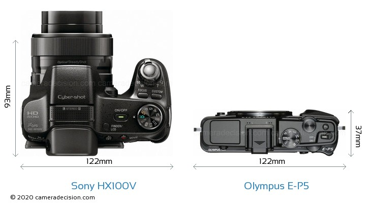 Sony HX100V vs Olympus E-P5 Camera Size Comparison - Top View