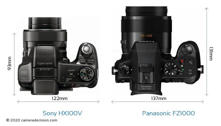 Sony HX100V vs Panasonic FZ1000 Camera Size Comparison - Top View