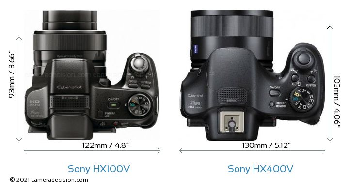 Sony HX100V vs Sony HX400V Camera Size Comparison - Top View