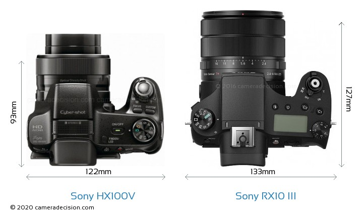 Sony HX100V vs Sony RX10 III Camera Size Comparison - Top View