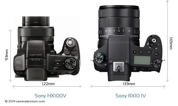 Sony HX100V vs Sony RX10 IV Camera Size Comparison - Top View