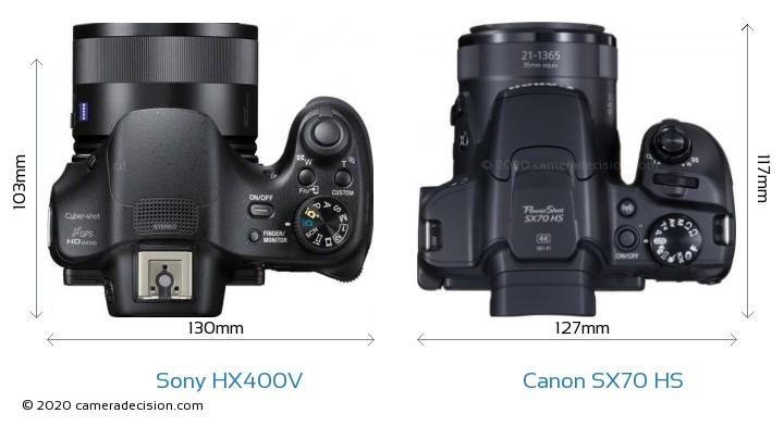 Sony HX400V vs Canon SX70 HS Camera Size Comparison - Top View