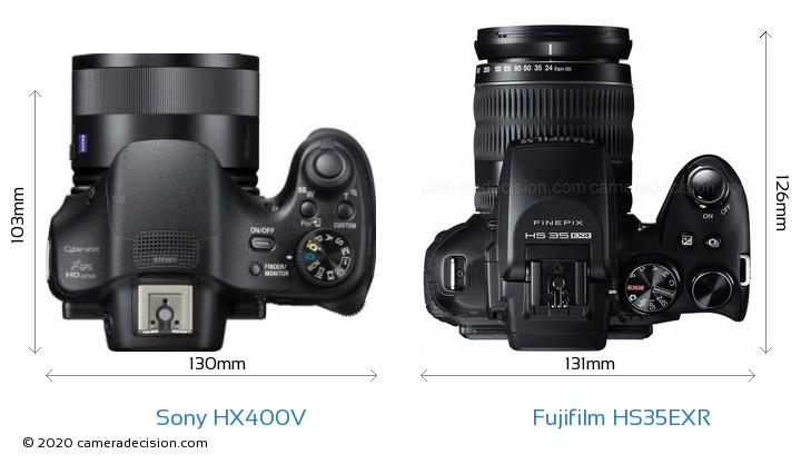 Sony HX400V vs Fujifilm HS35EXR Camera Size Comparison - Top View