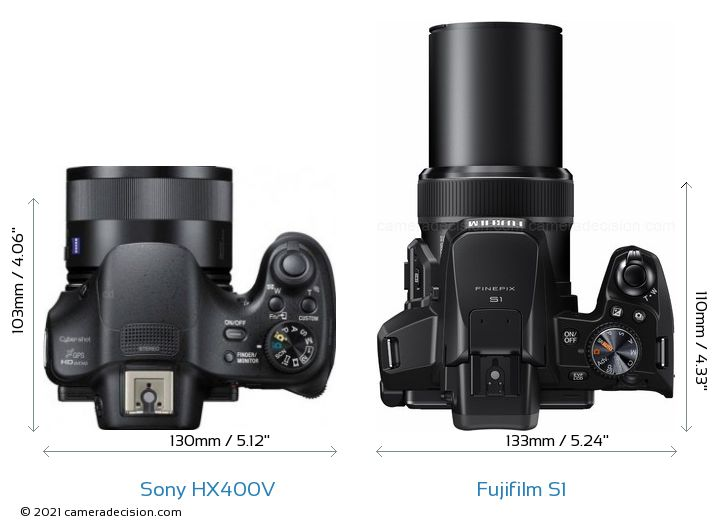 Sony HX400V vs Fujifilm S1 Camera Size Comparison - Top View