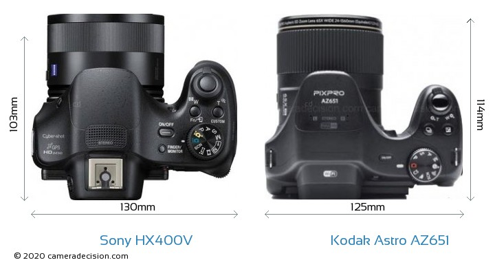 Sony HX400V vs Kodak Astro Zoom AZ651 Camera Size Comparison - Top View