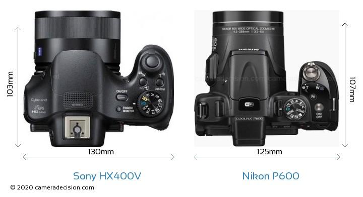 Sony HX400V vs Nikon P600 Camera Size Comparison - Top View