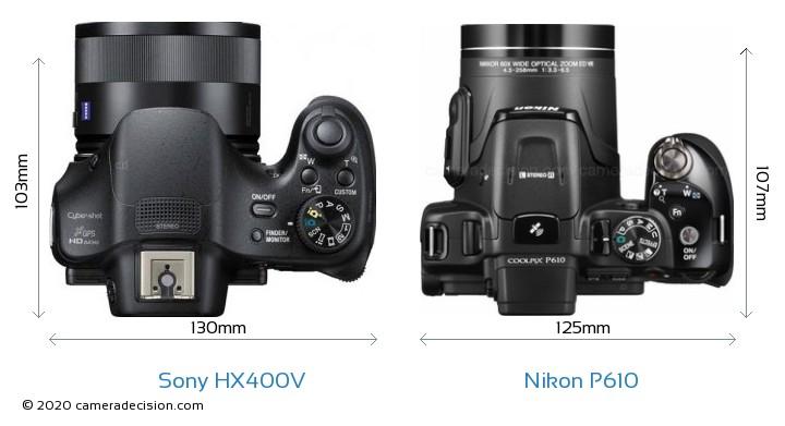 Sony HX400V vs Nikon P610 Camera Size Comparison - Top View