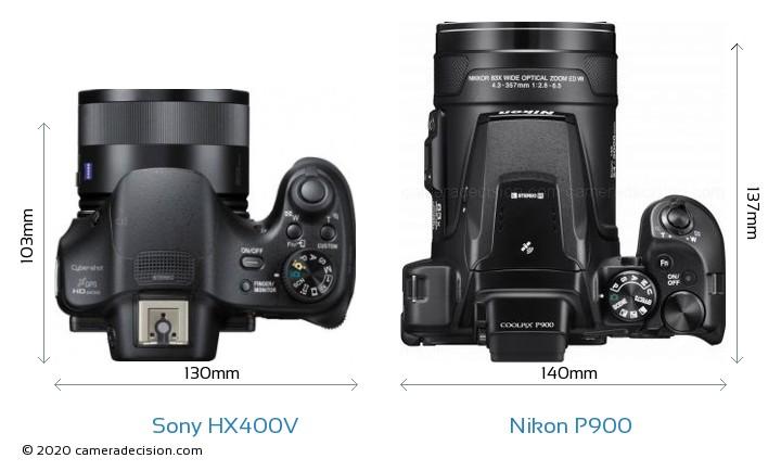 Sony HX400V vs Nikon P900 Camera Size Comparison - Top View