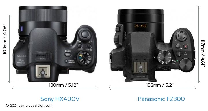 Sony HX400V vs Panasonic FZ300 Camera Size Comparison - Top View