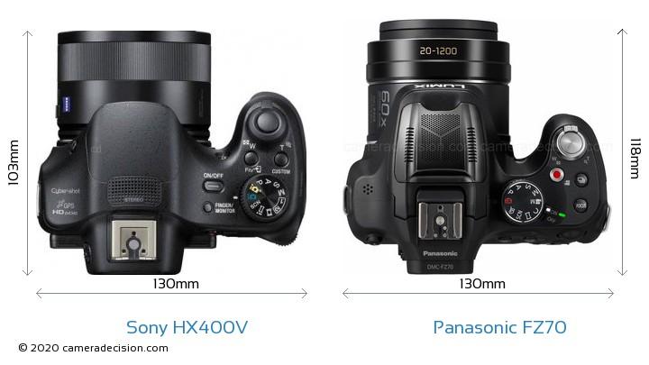 Sony HX400V vs Panasonic FZ70 Camera Size Comparison - Top View