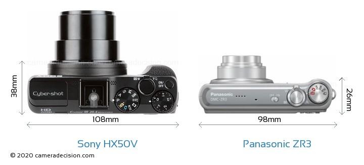 Sony HX50V vs Panasonic ZR3 Camera Size Comparison - Top View