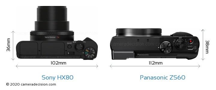 Sony HX80 vs Panasonic ZS60 Camera Size Comparison - Top View