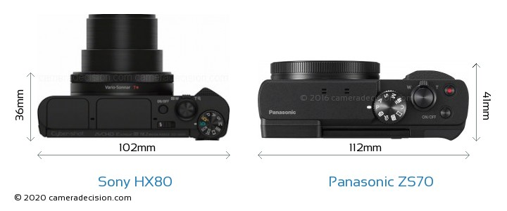 Sony HX80 vs Panasonic ZS70 Camera Size Comparison - Top View