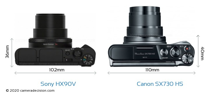 Sony HX90V vs Canon SX730 HS Camera Size Comparison - Top View