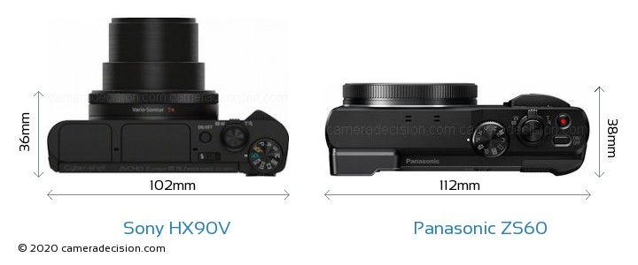 Sony HX90V vs Panasonic ZS60 Camera Size Comparison - Top View