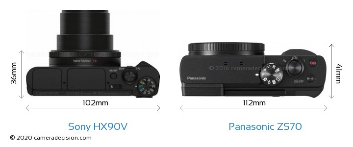 Sony HX90V vs Panasonic ZS70 Camera Size Comparison - Top View
