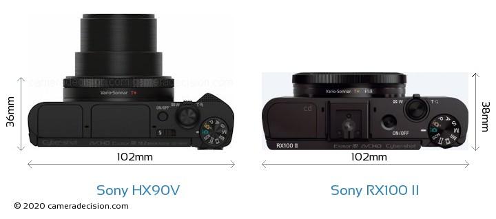 sony hx90v. sony hx90v vs rx100 ii camera size comparison - top view hx90v t