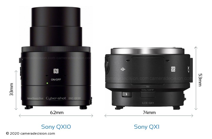 sony qx10. sony qx10 vs qx1 camera size comparison - top view qx10 t
