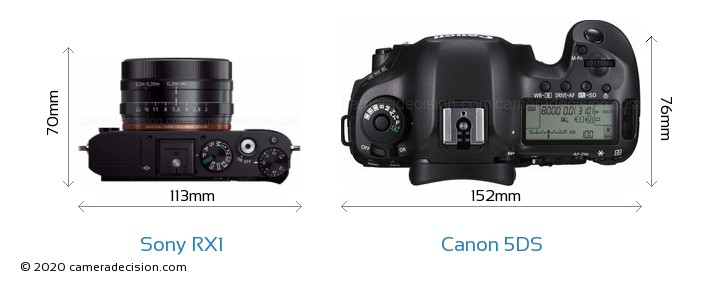 Sony RX1 vs Canon 5DS Camera Size Comparison - Top View