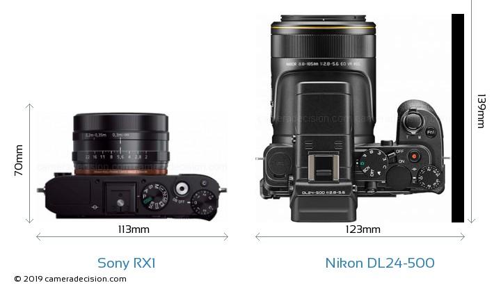 Sony RX1 vs Nikon DL24-500 Camera Size Comparison - Top View