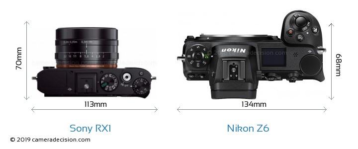 Sony RX1 vs Nikon Z 6 Camera Size Comparison - Top View