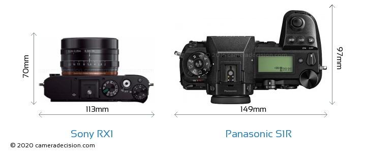 Sony RX1 vs Panasonic S1R Camera Size Comparison - Top View