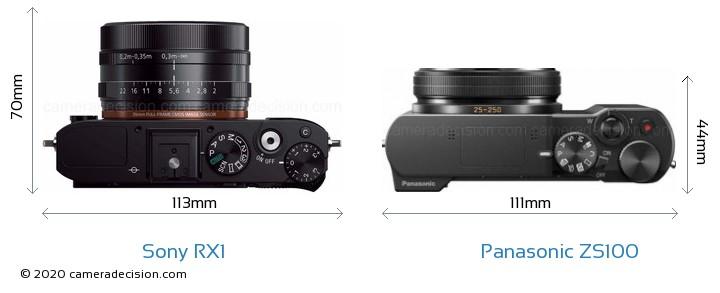 Sony RX1 vs Panasonic ZS100 Camera Size Comparison - Top View