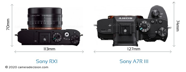 Sony RX1 vs Sony A7R III Camera Size Comparison - Top View