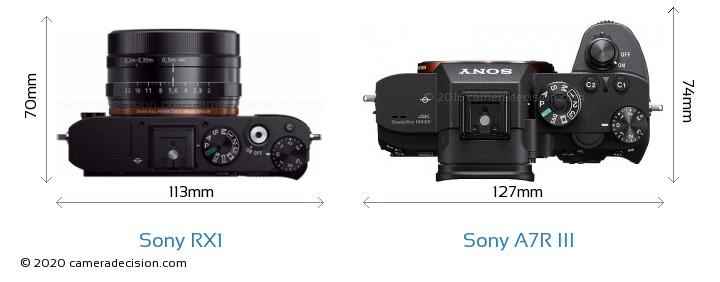 Sony RX1 vs Sony A7R III Camera Size Comparison - Top View
