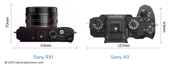 Sony RX1 vs Sony A9 Camera Size Comparison - Top View