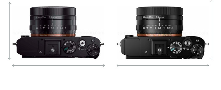 Sony RX1 vs Sony RX1R II Camera Size Comparison - Top View
