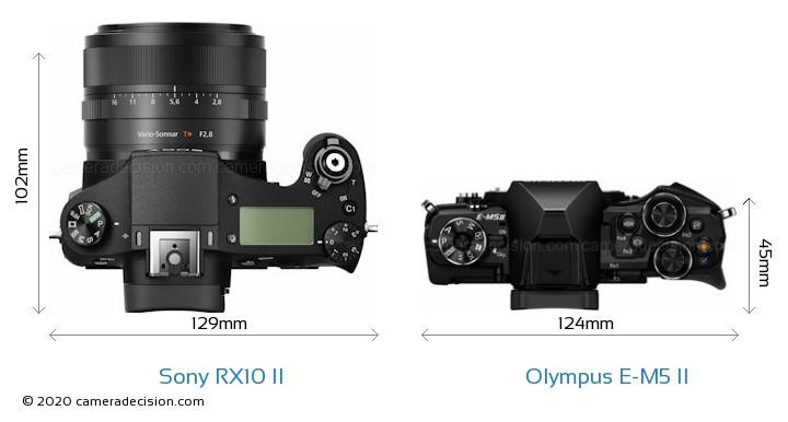 Sony RX10 II vs Olympus E-M5 II Camera Size Comparison - Top View