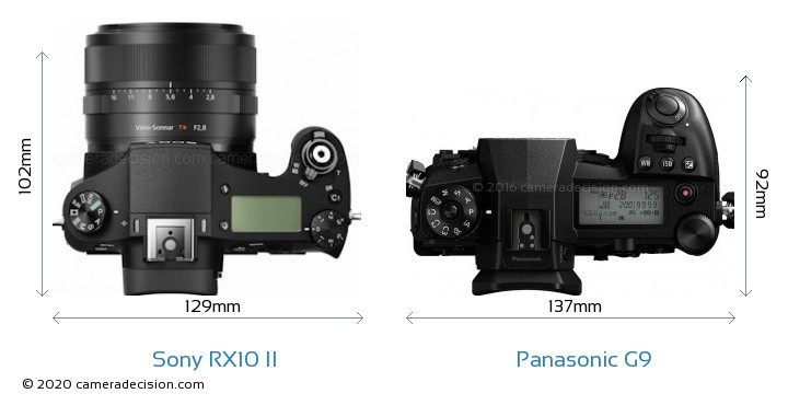 Sony RX10 II vs Panasonic G9 Camera Size Comparison - Top View
