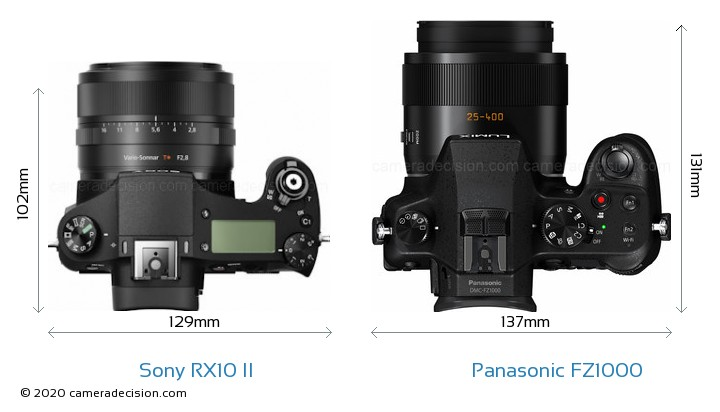 Sony RX10 II vs Panasonic FZ1000 Camera Size Comparison - Top View