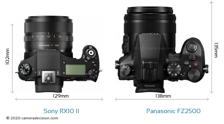 Sony RX10 II vs Panasonic FZ2500 Camera Size Comparison - Top View