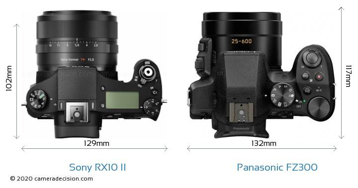 Sony RX10 II vs Panasonic FZ300 Camera Size Comparison - Top View