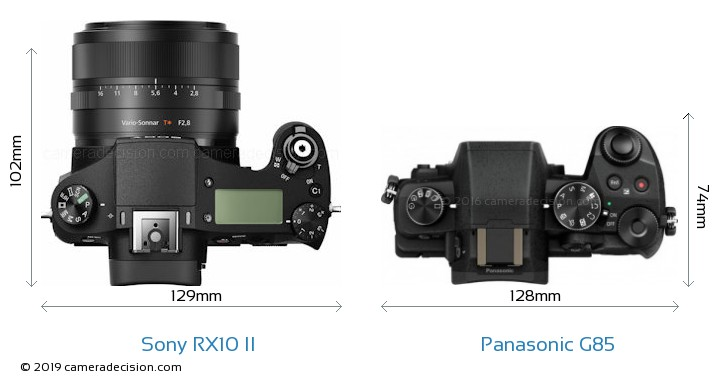 Sony RX10 II vs Panasonic G85 Camera Size Comparison - Top View