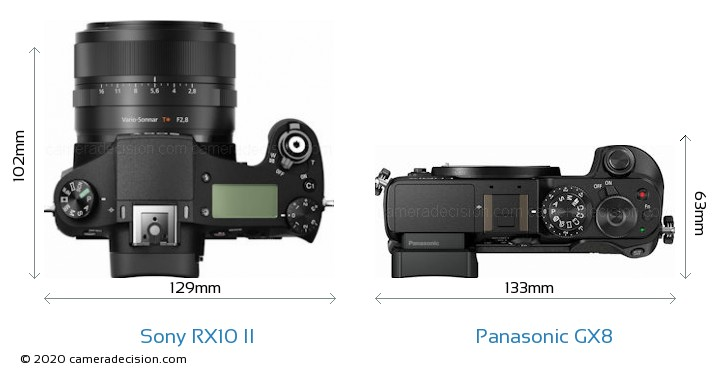 Sony RX10 II vs Panasonic GX8 Camera Size Comparison - Top View